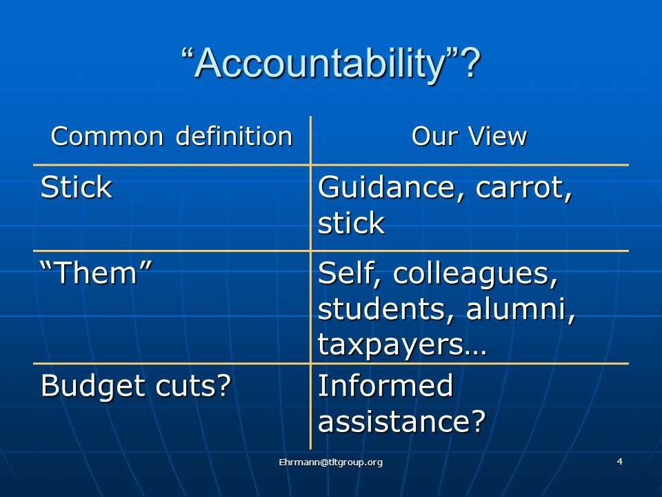 Ehrmann@tltgroup.org 4 Accountability .