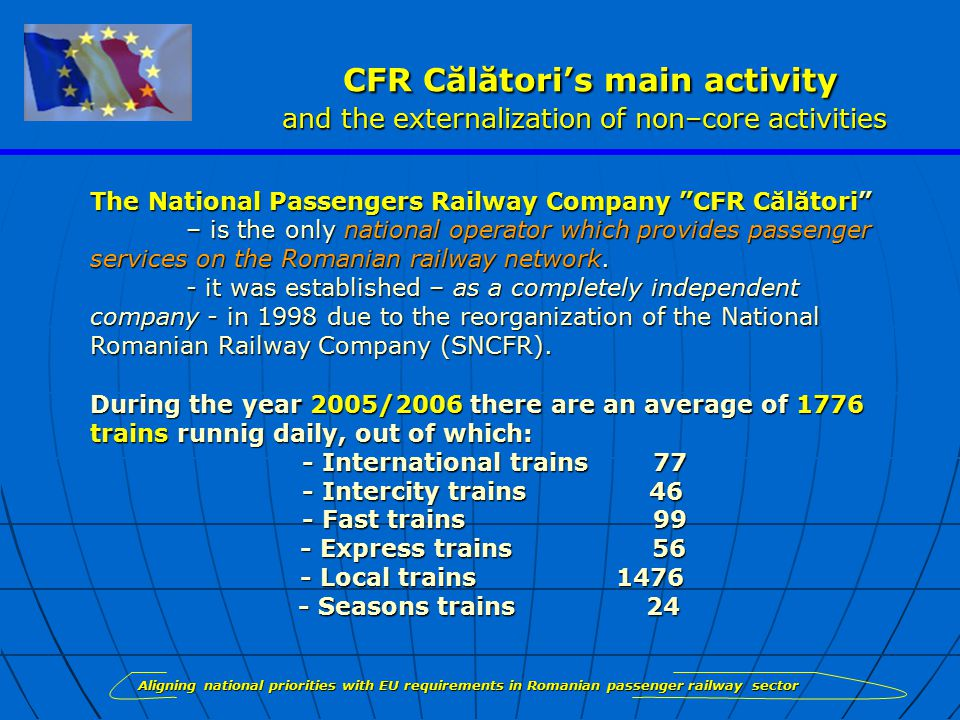 CFR Călători's main activity and the externalization of non–core activities CFR Călători's main activity and the externalization of non–core activities The National Passengers Railway Company CFR Călători – is the only national operator which provides passenger services on the Romanian railway network.