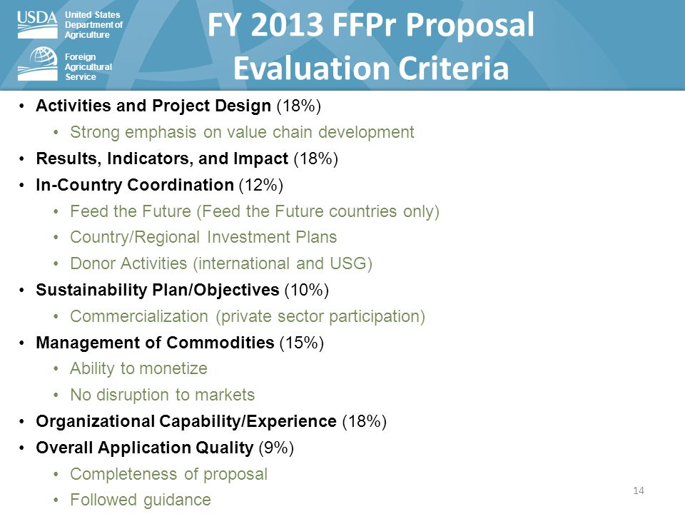 United States Department of Agriculture Foreign Agricultural Service FY 2013 FFPr Proposal Evaluation Criteria Activities and Project Design (18%) Strong emphasis on value chain development Results, Indicators, and Impact (18%) In-Country Coordination (12%) Feed the Future (Feed the Future countries only) Country/Regional Investment Plans Donor Activities (international and USG) Sustainability Plan/Objectives (10%) Commercialization (private sector participation) Management of Commodities (15%) Ability to monetize No disruption to markets Organizational Capability/Experience (18%) Overall Application Quality (9%) Completeness of proposal Followed guidance 14