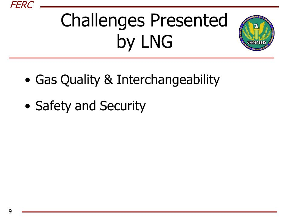 FERC 10 Challenges Presented Gas Quality and Interchangeability Definitions Examples Current Events –Evolving Standards –Cove Point and Washington Gas