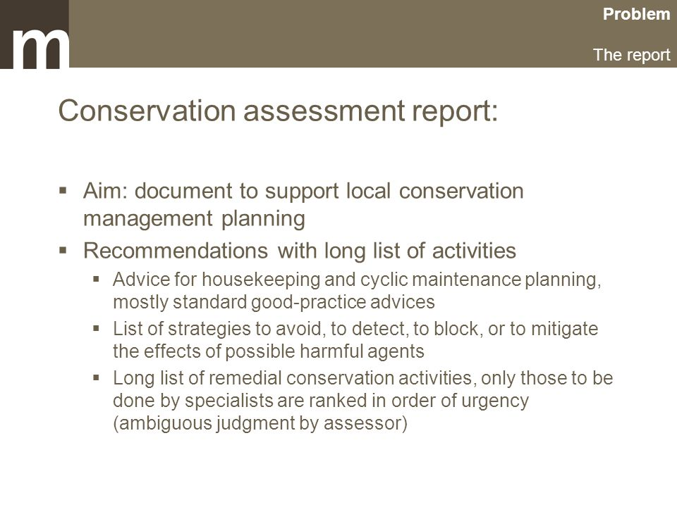 Problem The report Conservation assessment report:  Aim: document to support local conservation management planning  Recommendations with long list of activities  Advice for housekeeping and cyclic maintenance planning, mostly standard good-practice advices  List of strategies to avoid, to detect, to block, or to mitigate the effects of possible harmful agents  Long list of remedial conservation activities, only those to be done by specialists are ranked in order of urgency (ambiguous judgment by assessor)