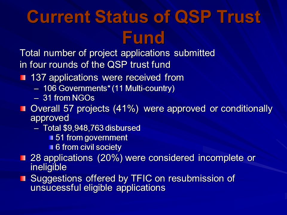 Current Status of QSP Trust Fund Total number of project applications submitted in four rounds of the QSP trust fund 137 applications were received fr