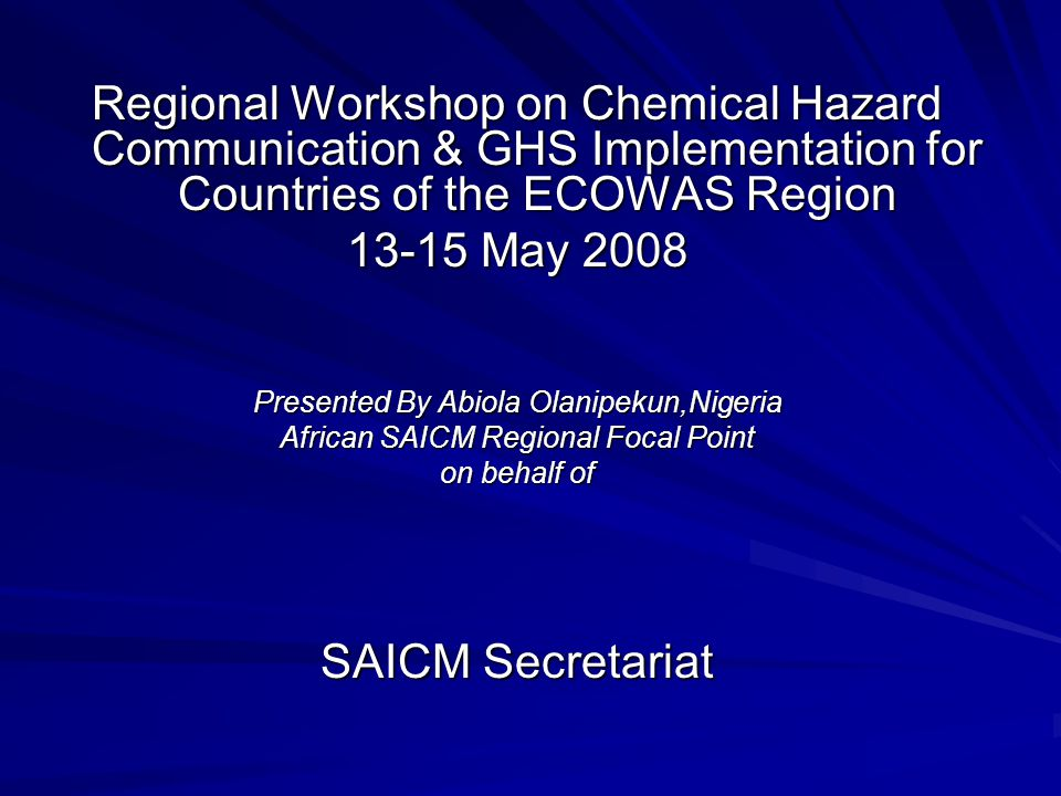 Objectives of Presentation Introduce SAICM, its key characteristics, the core SAICM texts, the ICCM & the QSP Briefly review the GHS, its relevance & linkages for SAICM implementation Discuss the SAICM QSP as a means of providing support for GHS activities