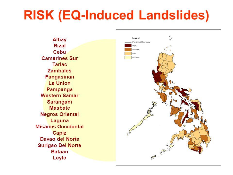 RISK (EQ-Induced Landslides) Albay Rizal Cebu Camarines Sur Tarlac Zambales Pangasinan La Union Pampanga Western Samar Sarangani Masbate Negros Oriental Laguna Misamis Occidental Capiz Davao del Norte Surigao Del Norte Bataan Leyte