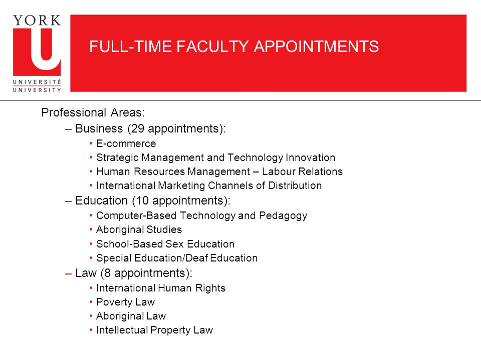 FULL-TIME FACULTY APPOINTMENTS Professional Areas: – Business (29 appointments): E-commerce Strategic Management and Technology Innovation Human Resources Management – Labour Relations International Marketing Channels of Distribution – Education (10 appointments): Computer-Based Technology and Pedagogy Aboriginal Studies School-Based Sex Education Special Education/Deaf Education – Law (8 appointments): International Human Rights Poverty Law Aboriginal Law Intellectual Property Law