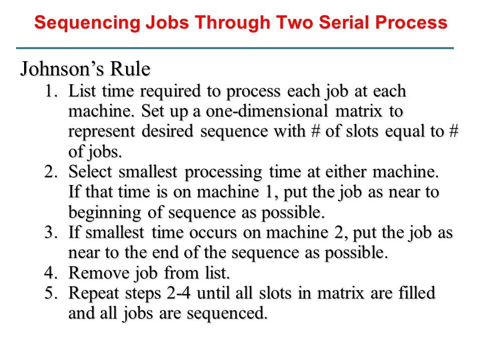 Sequencing Jobs Through Two Serial Process Johnson's Rule 1.List time required to process each job at each machine. Set up a one-dimensional matrix to