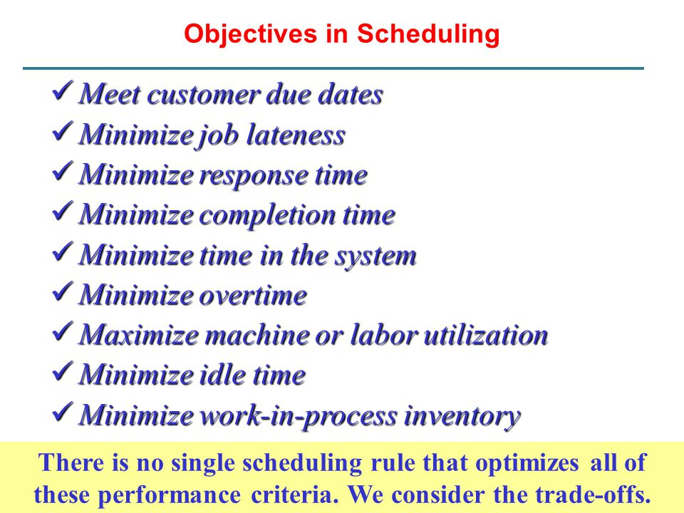 Objectives in Scheduling Meet customer due dates Meet customer due dates Minimize job lateness Minimize job lateness Minimize response time Minimize r