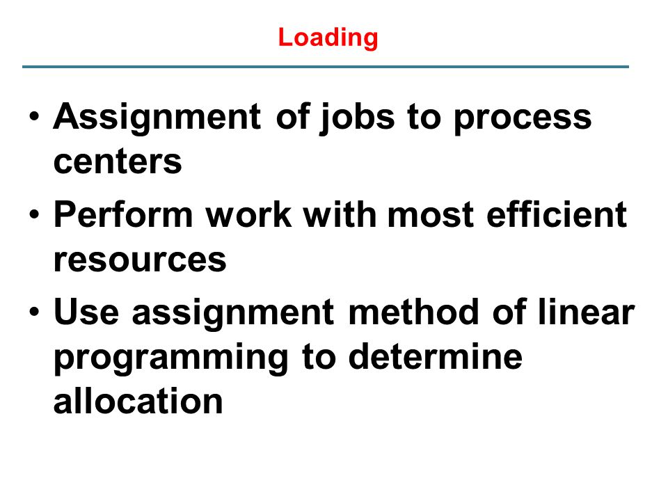 Loading Assignment of jobs to process centers Perform work with most efficient resources Use assignment method of linear programming to determine allo