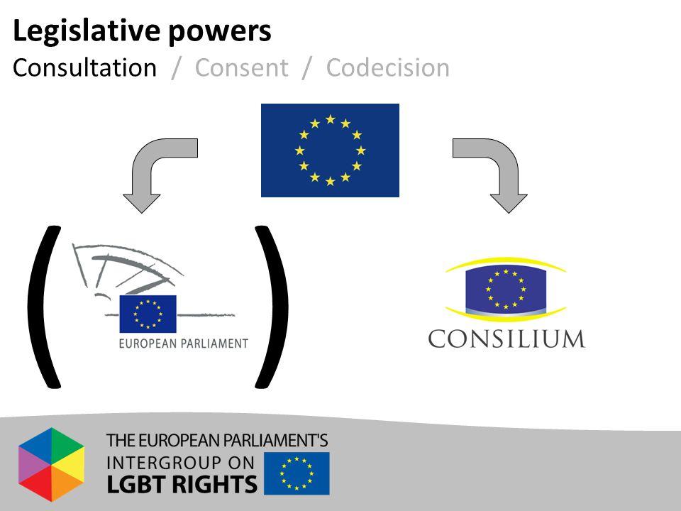 Legislative powers Consultation / Consent / Codecision ( )