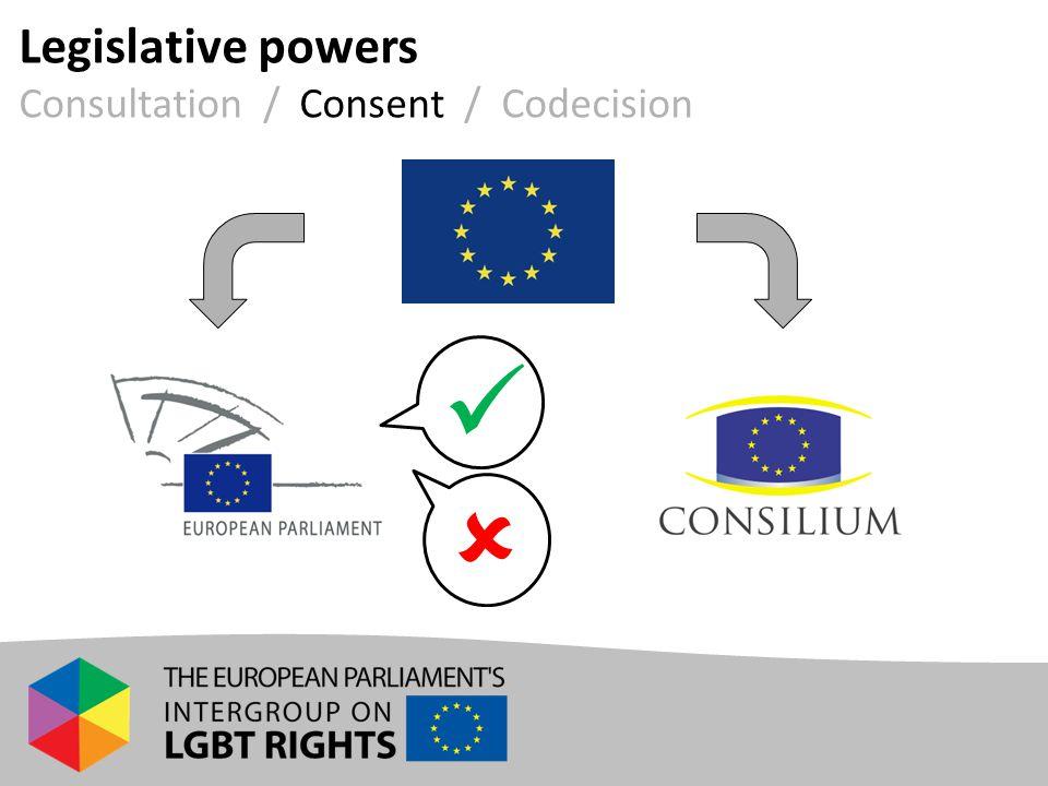 Legislative powers Consultation / Consent / Codecision 
