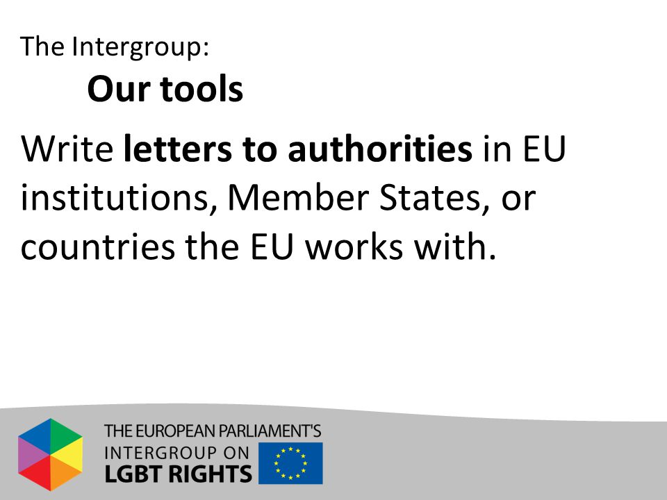 Write letters to authorities in EU institutions, Member States, or countries the EU works with. The Intergroup: Our tools
