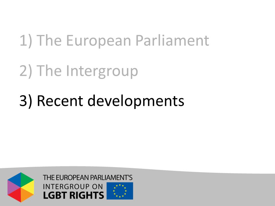 1) The European Parliament 2) The Intergroup 3) Recent developments