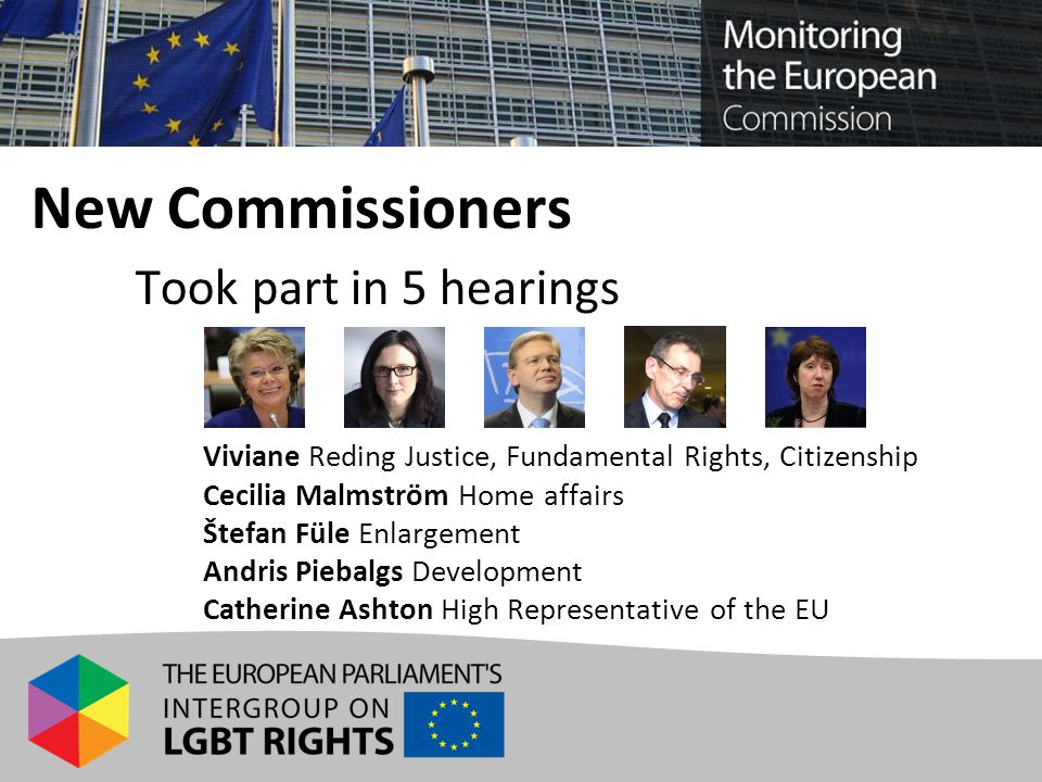 New Commissioners Took part in 5 hearings Viviane Reding Justice, Fundamental Rights, Citizenship Cecilia Malmström Home affairs Štefan Füle Enlargement Andris Piebalgs Development Catherine Ashton High Representative of the EU