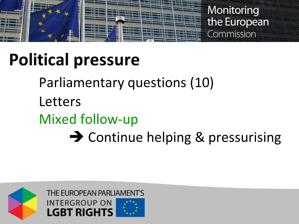 Political pressure Parliamentary questions (10) Letters Mixed follow-up  Continue helping & pressurising
