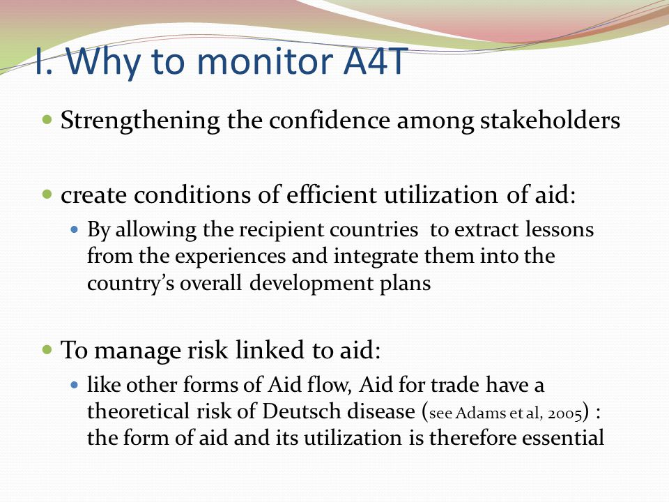 II.How to built Indicators for the monitoring in Recipients Countries.