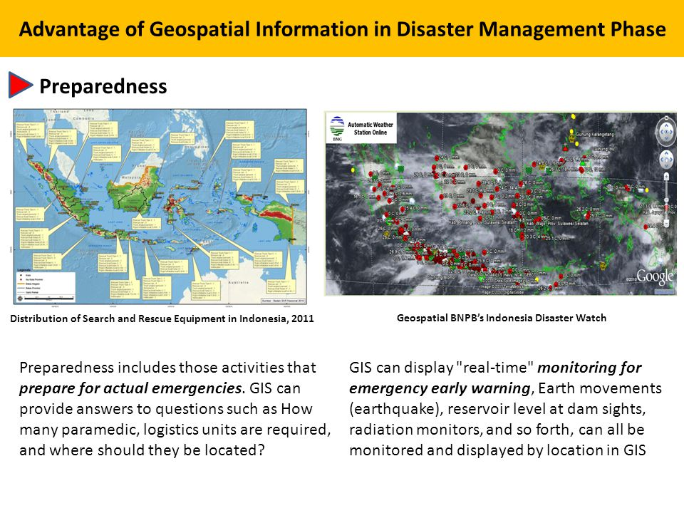 Preparedness Advantage of Geospatial Information in Disaster Management Phase Distribution of Search and Rescue Equipment in Indonesia, 2011 Preparedness includes those activities that prepare for actual emergencies.