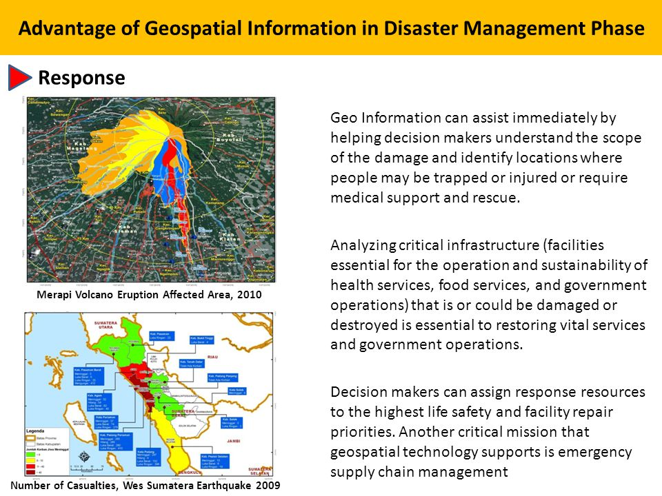 Advantage of Geospatial Information in Disaster Management Phase Response Geo Information can assist immediately by helping decision makers understand