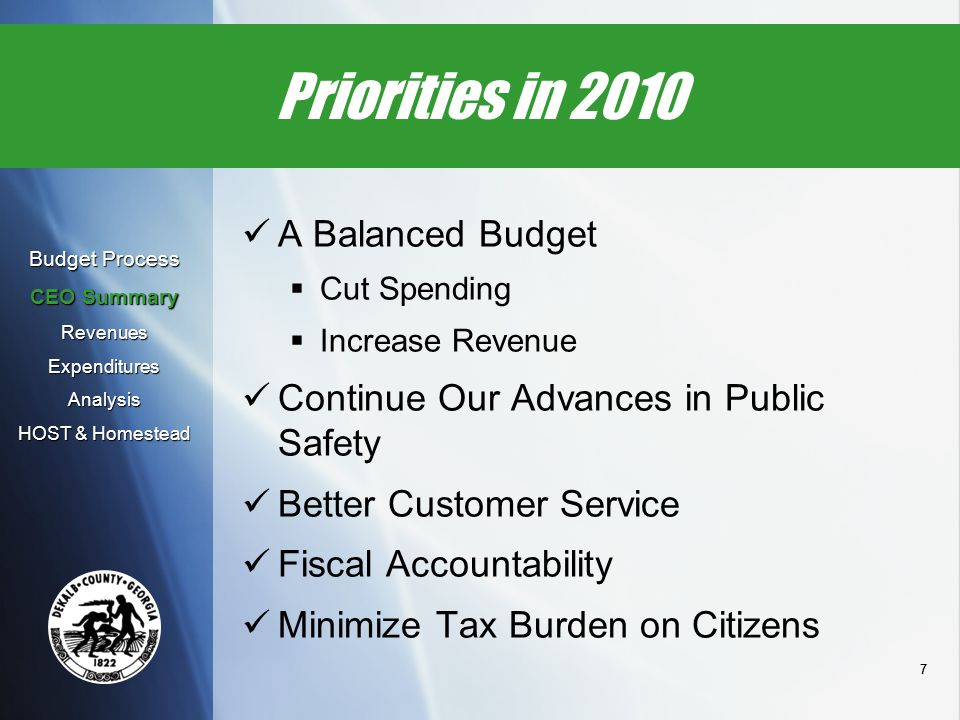 77 Priorities in 2010 A Balanced Budget  Cut Spending  Increase Revenue Continue Our Advances in Public Safety Better Customer Service Fiscal Accoun