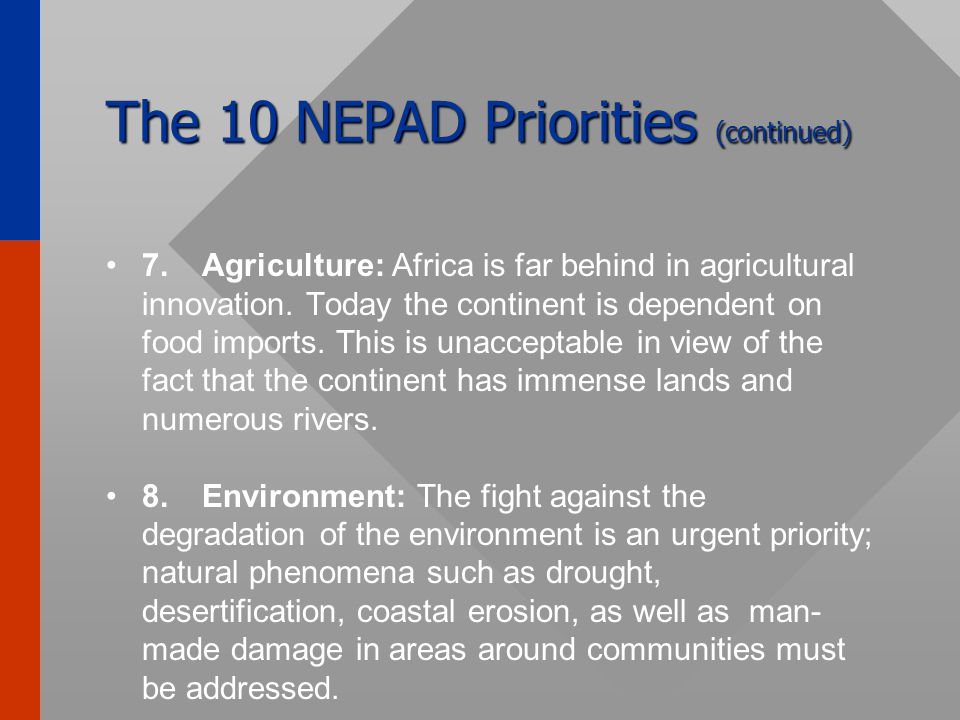 The 10 NEPAD Priorities (continued) 5.Health: An important component for Africa's development, especially in view of the high mortality rate caused by