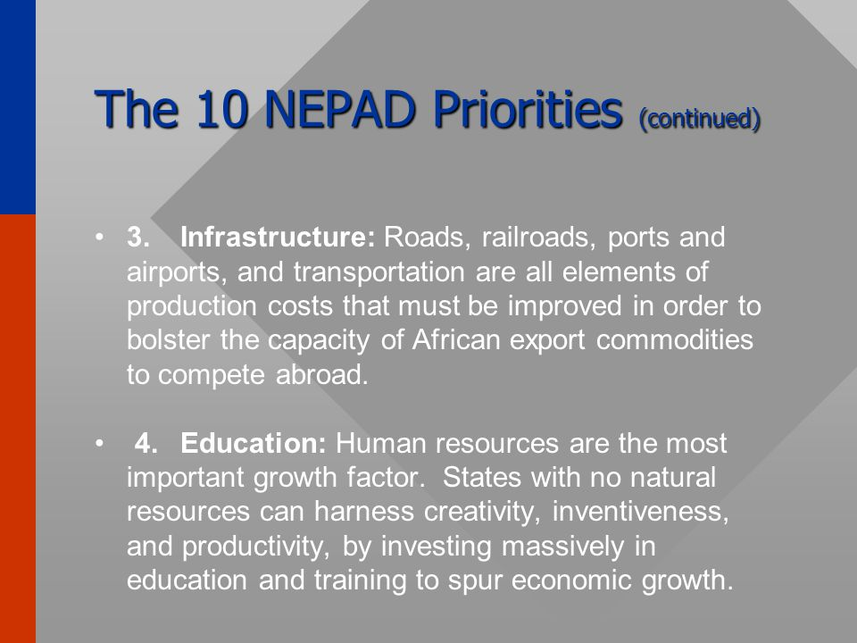 The 10 NEPAD Priorities 1.Good public governance: Democracy embodies free and fair elections as well as democratic institutions, respect for human rights, rights of women and children, and transparency in public management.