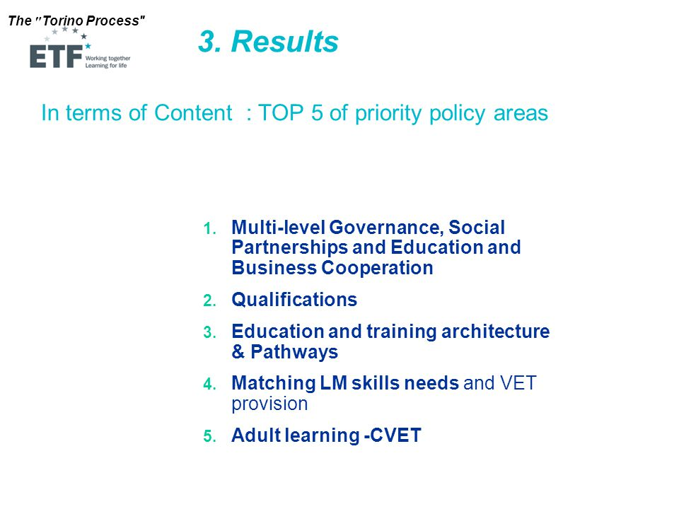 The Torino Process In terms of Content : TOP 5 of priority policy areas 3.