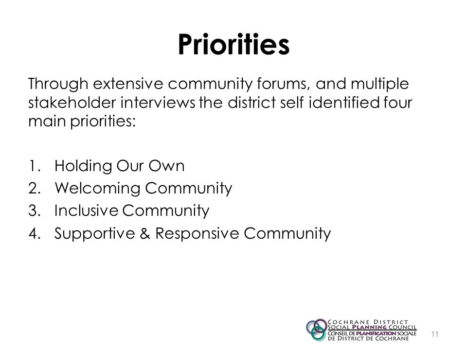 Priorities Through extensive community forums, and multiple stakeholder interviews the district self identified four main priorities: 1.Holding Our Ow
