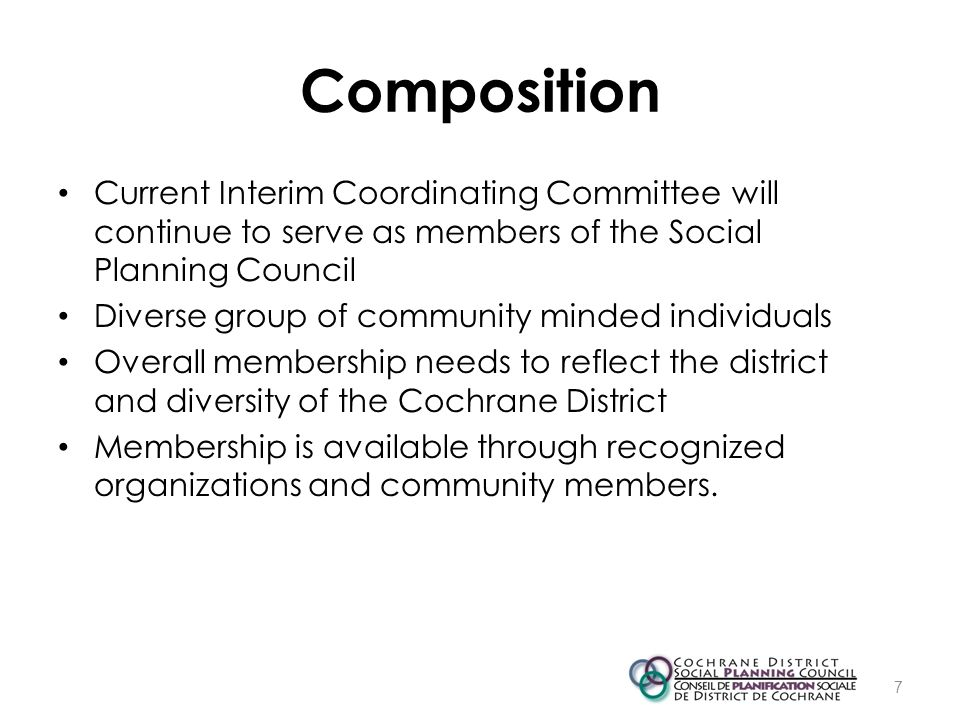 Composition Current Interim Coordinating Committee will continue to serve as members of the Social Planning Council Diverse group of community minded