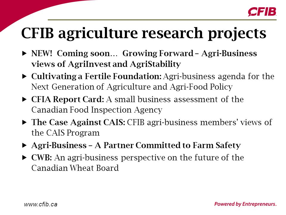 www.cfib.ca CFIB agriculture research projects NEW.