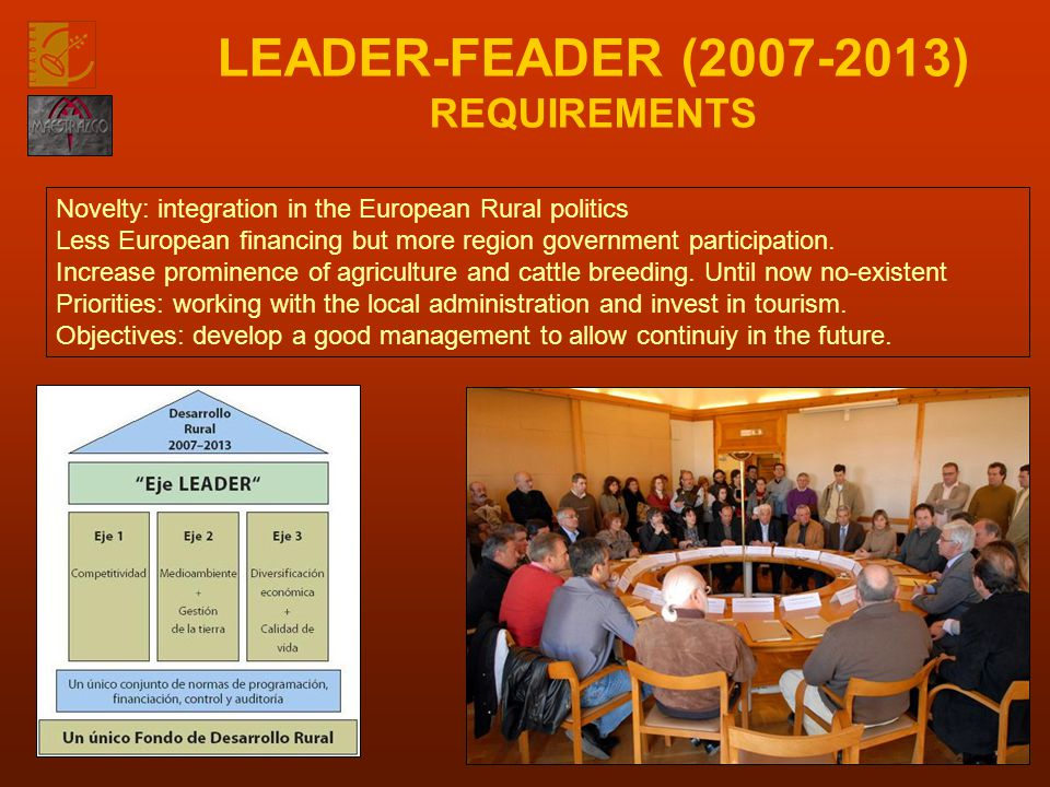 LEADER-FEADER (2007-2013) REQUIREMENTS Novelty: integration in the European Rural politics Less European financing but more region government participation.