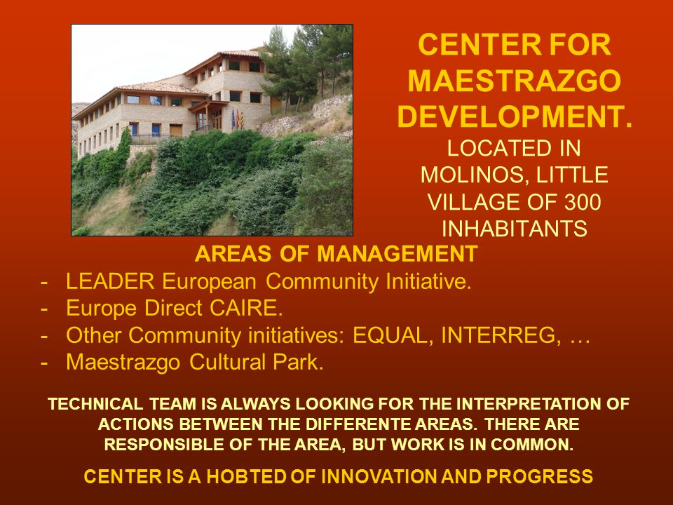 CENTER FOR MAESTRAZGO DEVELOPMENT.