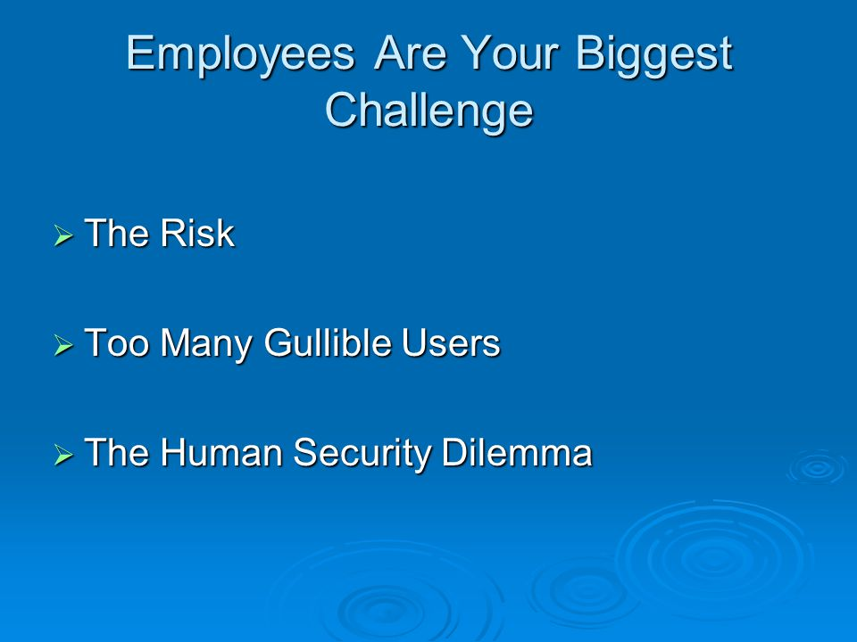 Employees Are Your Biggest Challenge  The Risk  Too Many Gullible Users  The Human Security Dilemma