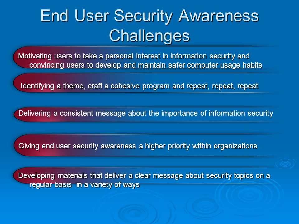 Initiatives should be endorsed at the top with the message cascading throughout the organization Summary & Final Thoughts Security Awareness & Training Should Be Top Priority.