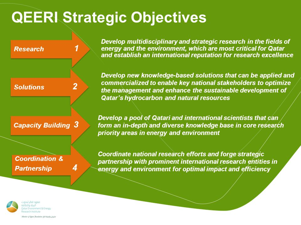 QEERI Strategic Objectives Research 1 Develop multidisciplinary and strategic research in the fields of energy and the environment, which are most critical for Qatar and establish an international reputation for research excellence Develop new knowledge-based solutions that can be applied and commercialized to enable key national stakeholders to optimize the management and enhance the sustainable development of Qatar's hydrocarbon and natural resources Capacity Building 3 Develop a pool of Qatari and international scientists that can form an in-depth and diverse knowledge base in core research priority areas in energy and environment Coordination & Partnership 4 Coordinate national research efforts and forge strategic partnership with prominent international research entities in energy and environment for optimal impact and efficiency Solutions 2