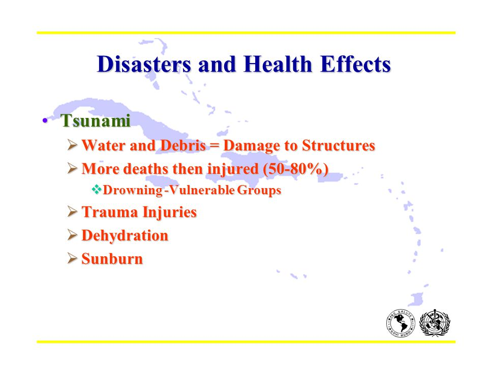 Disasters and Health Effects TsunamiTsunami  Water and Debris = Damage to Structures  More deaths then injured (50-80%)  Drowning -Vulnerable Group