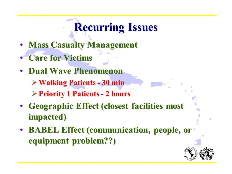 Recurring Issues Mass Casualty ManagementMass Casualty Management Care for VictimsCare for Victims Dual Wave PhenomenonDual Wave Phenomenon  Walking Patients - 30 min  Priority 1 Patients - 2 hours Geographic Effect (closest facilities most impacted)Geographic Effect (closest facilities most impacted) BABEL Effect (communication, people, or equipment problem )BABEL Effect (communication, people, or equipment problem )