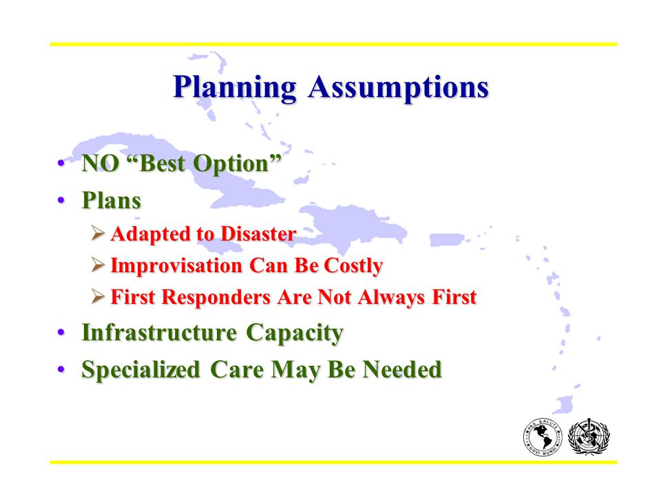 """Planning Assumptions NO """"Best Option""""NO """"Best Option"""" PlansPlans  Adapted to Disaster  Improvisation Can Be Costly  First Responders Are Not Always"""