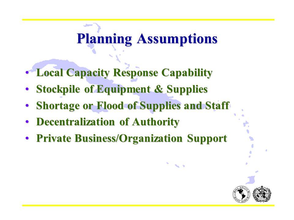 Planning Assumptions Local Capacity Response CapabilityLocal Capacity Response Capability Stockpile of Equipment & SuppliesStockpile of Equipment & Su