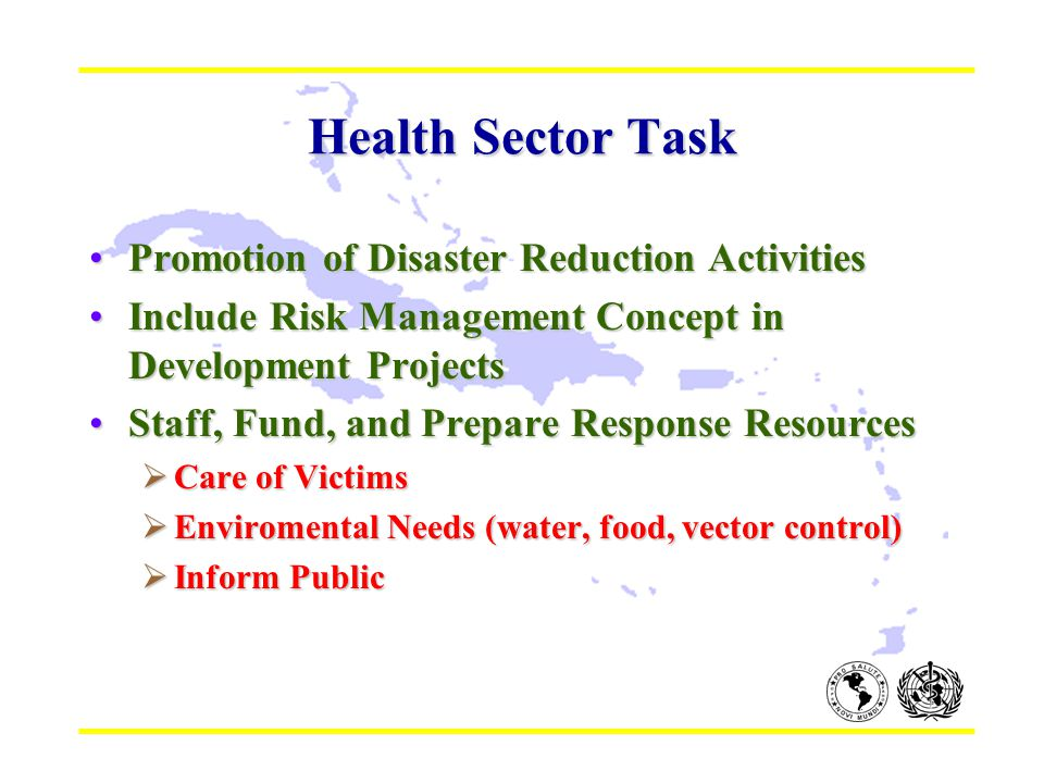 Health Sector Task Promotion of Disaster Reduction ActivitiesPromotion of Disaster Reduction Activities Include Risk Management Concept in Development ProjectsInclude Risk Management Concept in Development Projects Staff, Fund, and Prepare Response ResourcesStaff, Fund, and Prepare Response Resources  Care of Victims  Enviromental Needs (water, food, vector control)  Inform Public