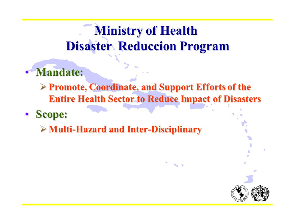Ministry of Health Disaster Reduccion Program Mandate:Mandate:  Promote, Coordinate, and Support Efforts of the Entire Health Sector to Reduce Impact of Disasters Scope:Scope:  Multi-Hazard and Inter-Disciplinary