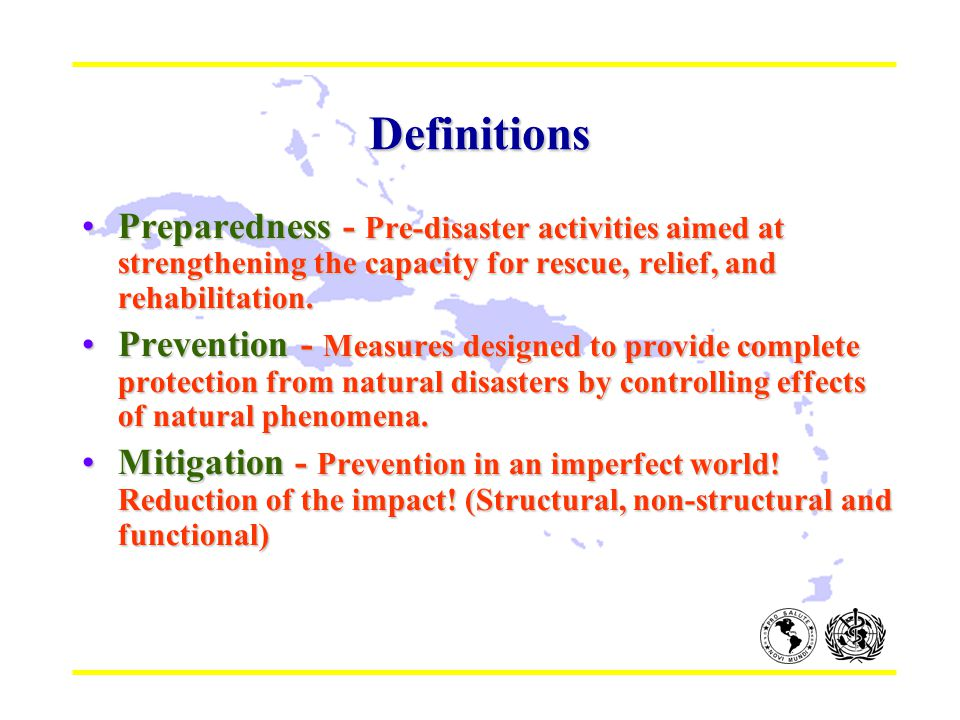 Definitions Preparedness - Pre-disaster activities aimed at strengthening the capacity for rescue, relief, and rehabilitation.Preparedness - Pre-disaster activities aimed at strengthening the capacity for rescue, relief, and rehabilitation.