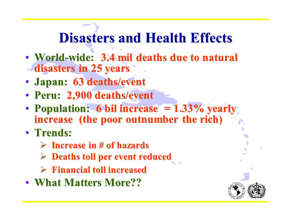Disasters and Health Effects Disasters and Health Effects World-wide: 3.4 mil deaths due to natural disasters in 25 yearsWorld-wide: 3.4 mil deaths due to natural disasters in 25 years Japan: 63 deaths/eventJapan: 63 deaths/event Peru: 2,900 deaths/eventPeru: 2,900 deaths/event Population: 6 bil increase = 1.33% yearly increase (the poor outnumber the rich)Population: 6 bil increase = 1.33% yearly increase (the poor outnumber the rich) Trends:Trends:  Increase in # of hazards  Deaths toll per event reduced  Financial toll increased What Matters More What Matters More