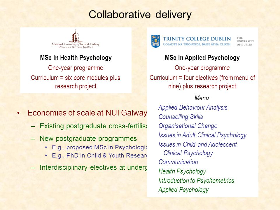 MSc in Health Psychology One-year programme Curriculum = six core modules plus research project Collaborative delivery Economies of scale at NUI Galway.