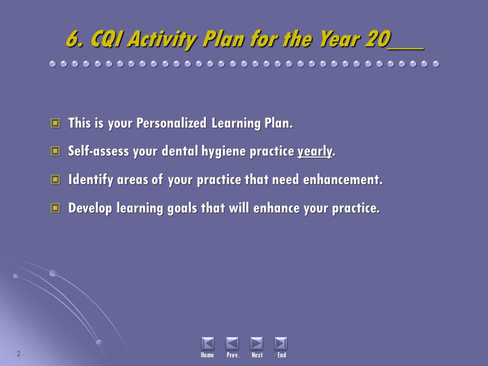 6. CQI Activity Plan for the Year 20___ This is your Personalized Learning Plan. This is your Personalized Learning Plan. Self-assess your dental hygi