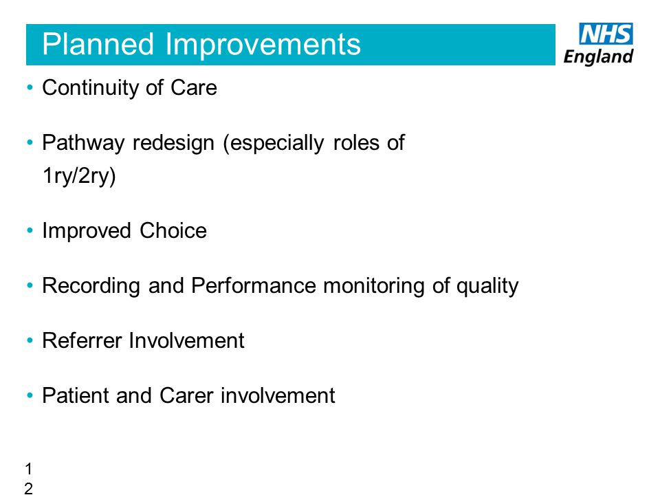Planned Improvements Continuity of Care Pathway redesign (especially roles of 1ry/2ry) Improved Choice Recording and Performance monitoring of quality
