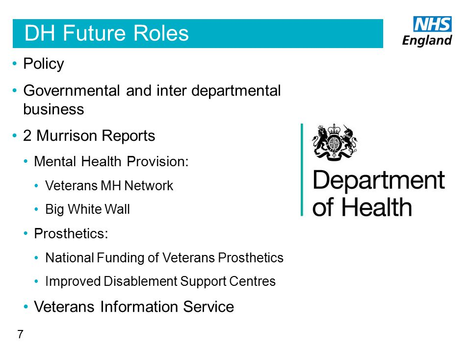 DH Future Roles Policy Governmental and inter departmental business 2 Murrison Reports Mental Health Provision: Veterans MH Network Big White Wall Pro