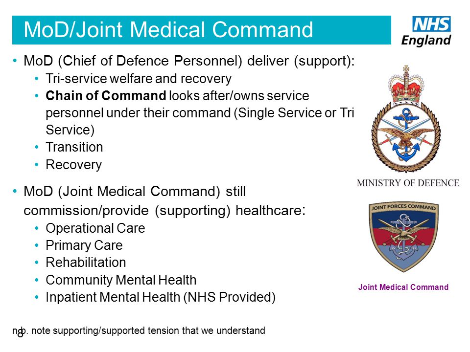 MoD/Joint Medical Command Joint Medical Command MoD (Chief of Defence Personnel) deliver (support): Tri-service welfare and recovery Chain of Command