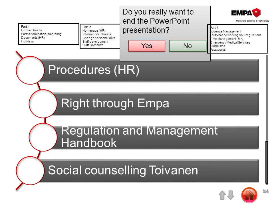 Procedures (HR) Right through Empa Regulation and Management Handbook Social counselling Toivanen Part 1 Contact Points Further education, mentoring Documents (HR) Holidays Part 2 Homepage (HR) International Guests Change personnel data Staff development Staff Committe Part 3 Procedures (HR) Right through Empa Regulation and Managemnt Handbook Social counselling Toivanen 3/4 3/4 Do you really want to end the PowerPoint presentation.