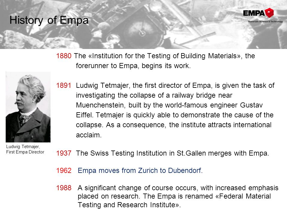 1994 The staff of the Armaments Services Group joins Empa and establishes the Materials Technology Laboratory.