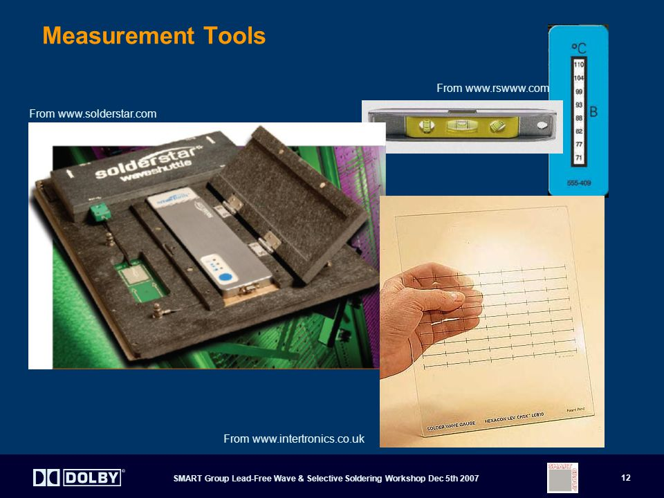 SMART Group Lead-Free Wave & Selective Soldering Workshop Dec 5th 2007 12 Measurement Tools From www.solderstar.com From www.intertronics.co.uk From www.rswww.com