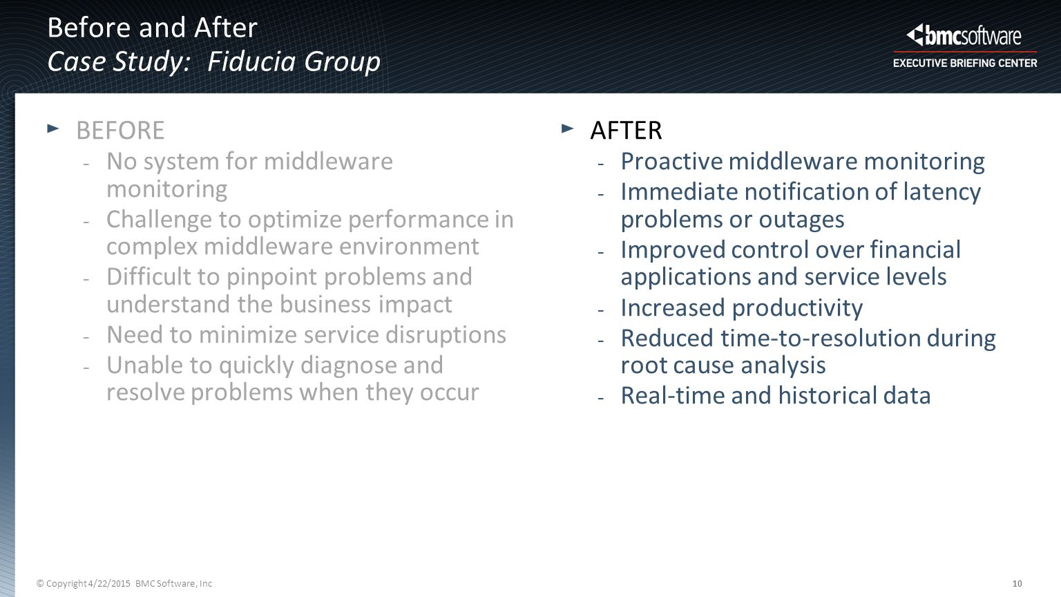 © Copyright 4/22/2015 BMC Software, Inc10 AFTER - Proactive middleware monitoring - Immediate notification of latency problems or outages - Improved control over financial applications and service levels - Increased productivity - Reduced time-to-resolution during root cause analysis - Real-time and historical data Before and After Case Study: Fiducia Group BEFORE - No system for middleware monitoring - Challenge to optimize performance in complex middleware environment - Difficult to pinpoint problems and understand the business impact - Need to minimize service disruptions - Unable to quickly diagnose and resolve problems when they occur